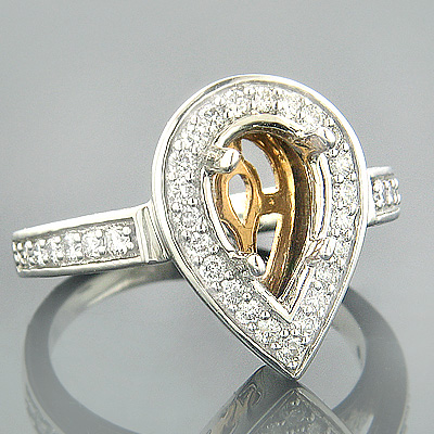 Halo 18K Two Tone Gold Diamond Engagement Ring Setting .65ct