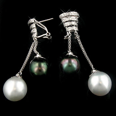 18K White Gold Diamond And Pearl Earrings 0.72ct
