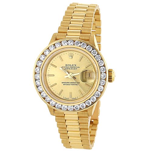 18k Yellow Gold Ladies ROLEX Oyster Diamond Watch Perpetual Datejust 3ct