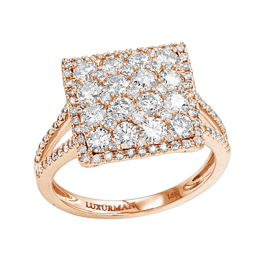 2 Carat 14K Gold Cluster Diamond Engagement Ring by Luxurman