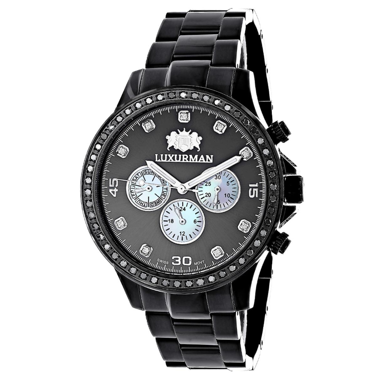 2 Carat Black Diamond Bezel Watch for Men by Luxurman