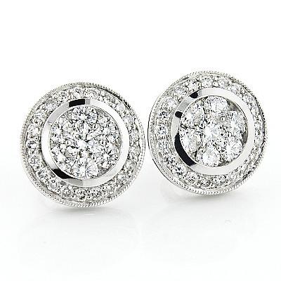 2 Carat Designer Diamond Cluster Earrings 2.00ct 14K Gold