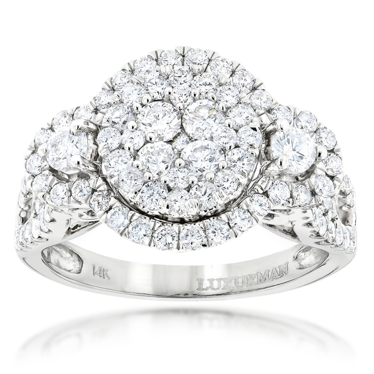 2 Carat Diamond Engagement Ring Cluster Set Diamonds 14k Gold by Luxurman