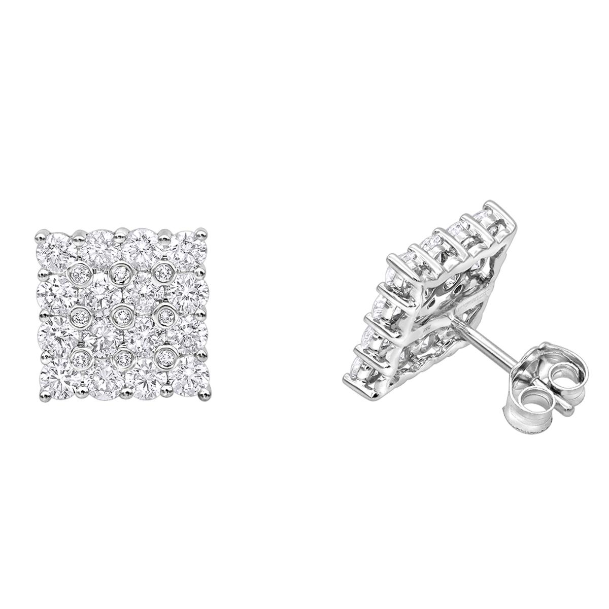 2 Carat Luxurman Square Shape Round Diamond Earrings Studs in 14k Gold