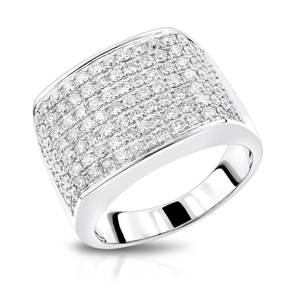 2 Carat Mens Diamond Ring in 14K Gold Large Diamond Band by Luxurman