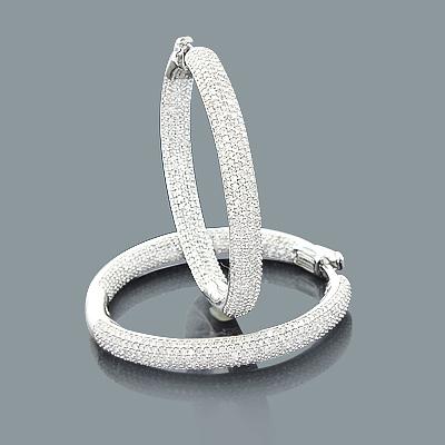 2 Carat Pave Diamond Hoop Earrings: 14K Gold Inside Out