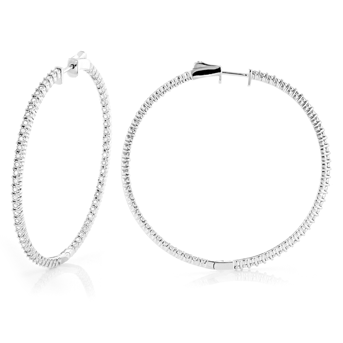 2 Inch Diamond Hoop Earrings 1ct 14K Gold Inside Out Hoops