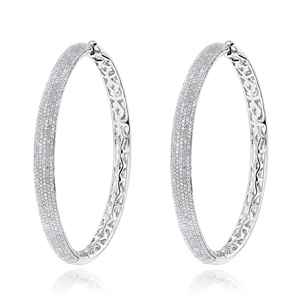 2 Inch Diamond Hoop Earrings 2.2ct 14K Gold