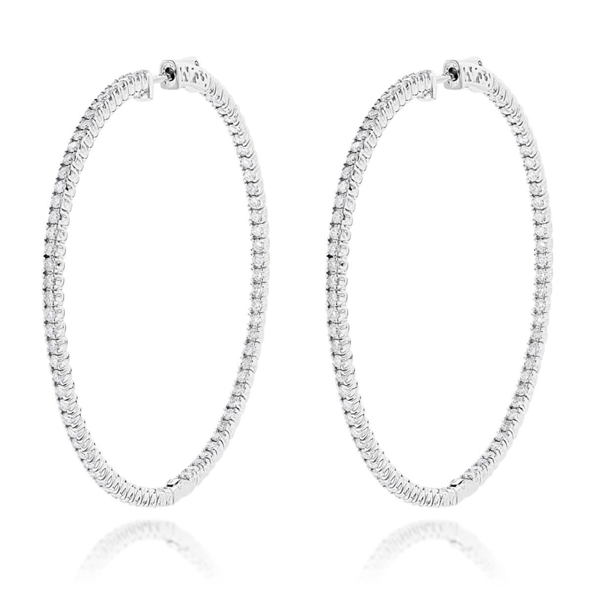 2 Inch Diamond Hoop Earrings 4ct 14K Gold Inside Out Design