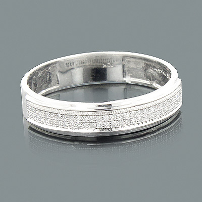 Thin 2 Row Diamond Wedding Band 10K 0.16ct