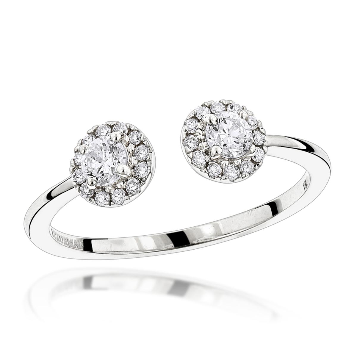 2 Stone Rings: 14K Gold Diamond Halo Ring for Women 0.4ct