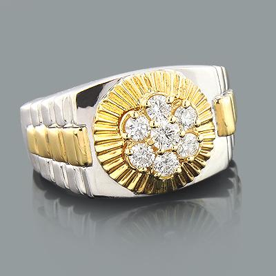 2 Tone Gold Rolex Style Mens Diamond Ring 1ct 14K Gold