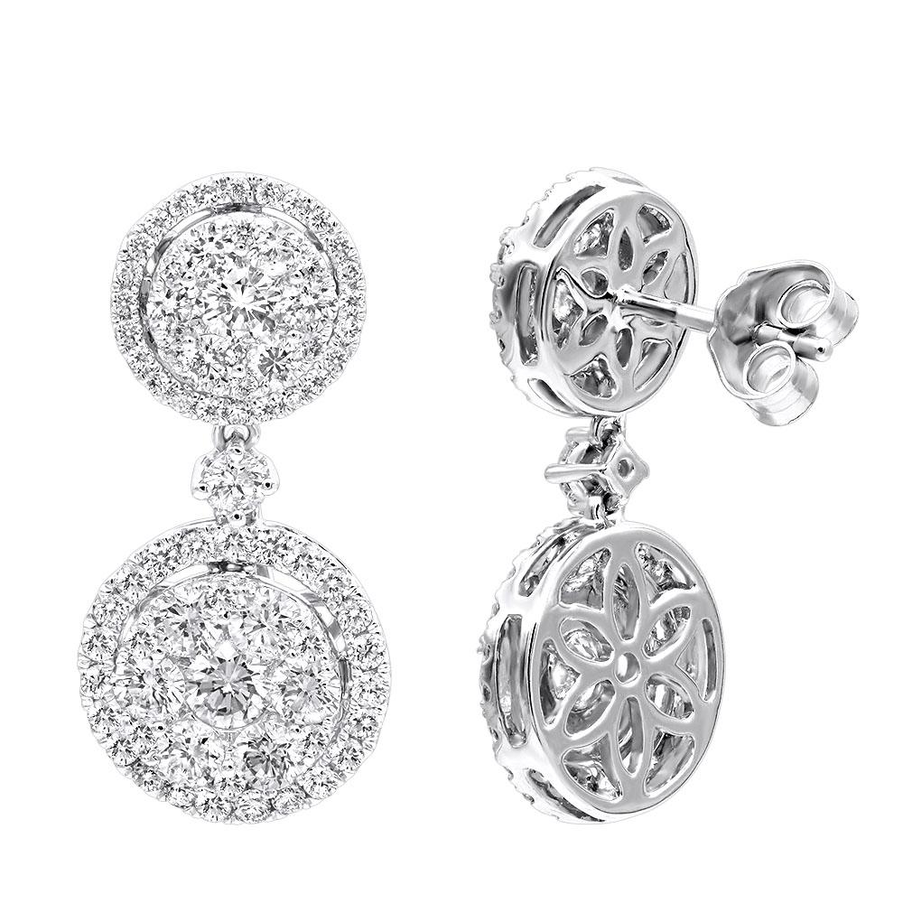 2.5 Carat Halo Diamond Drop Earrings for Women in 14k Gold By Luxurman