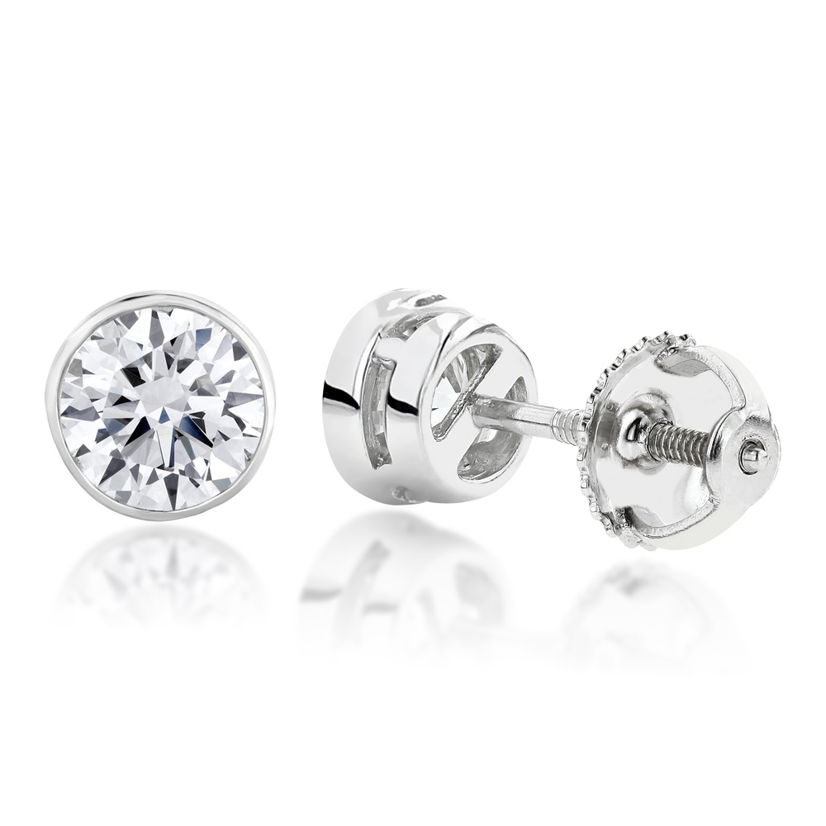 2ct Diamond Platinum Stud Earrings Bezel Set Round Cut