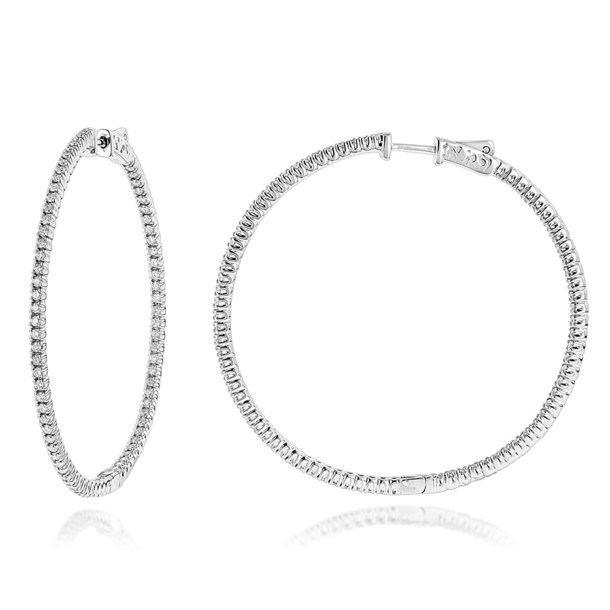 2mm 2in Inside Out Diamond Hoop Earrings for Women 1.6ct 14k Gold