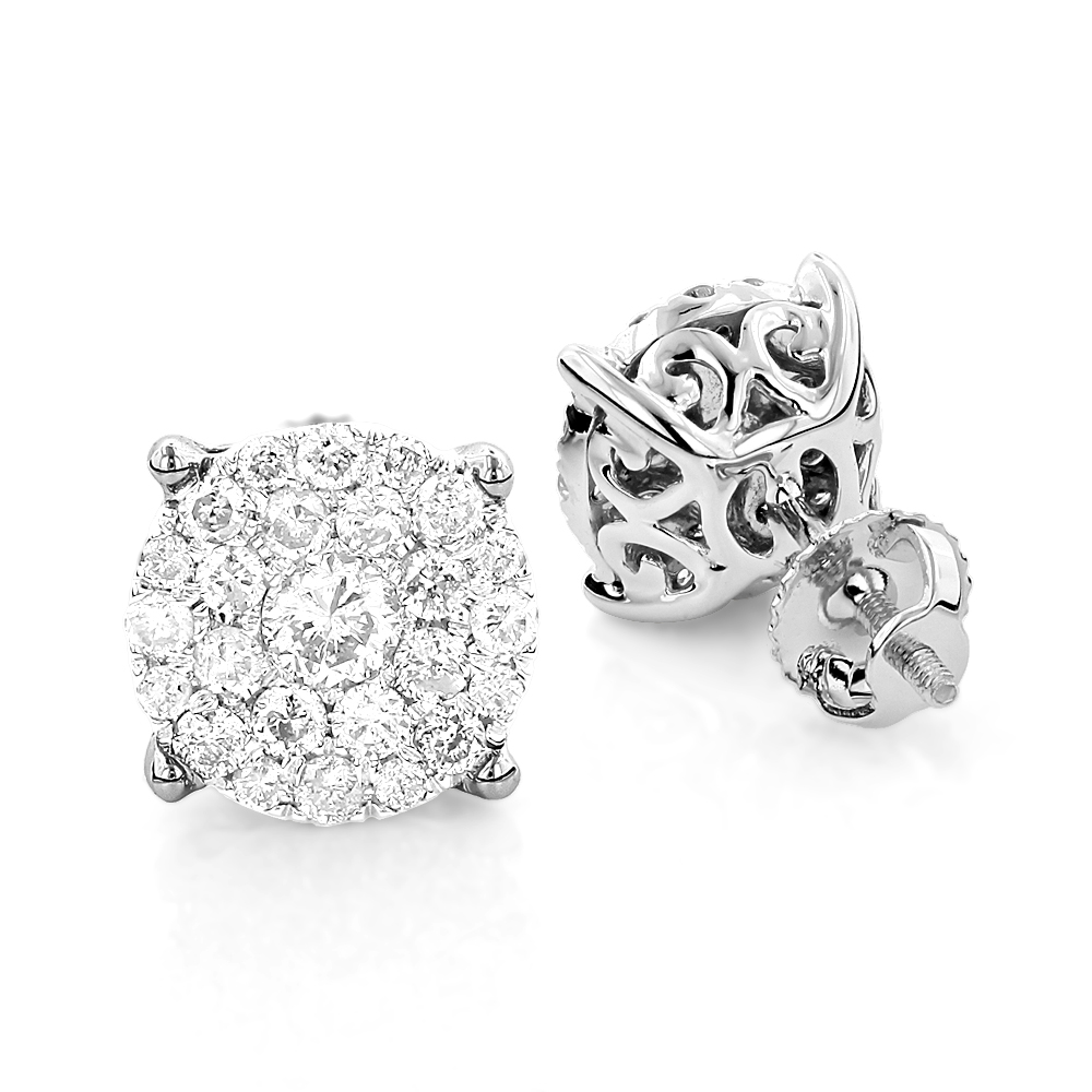 3 carat Look Round Diamond Cluster Earrings Studs 1.21ct 18K Gold