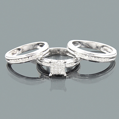 3 Piece Diamond Engagement Ring Set w Wedding Bands 083ct 14K White