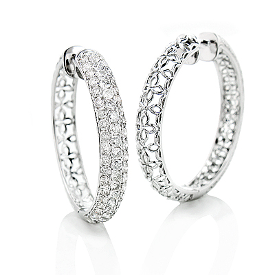 3 Row Diamond Hoop Earrings 4.41ct 14K Gold