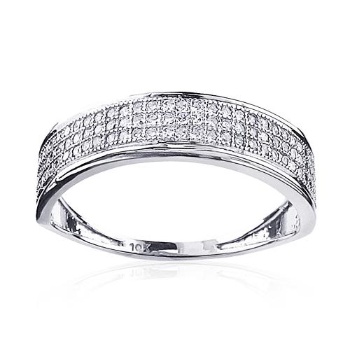 3 Row Womens Diamond Wedding Band Ring 0.3ct 10K Gold