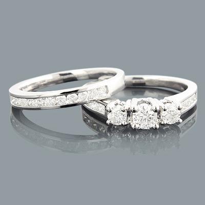 3 Stone Diamond Engagement Ring Set 1.04ct 14K Gold