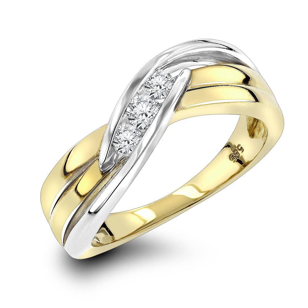 3 Stone Diamond Ring 0.17ct 14K 2 Tone Gold Jewelry