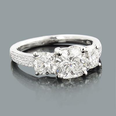 3 Stone Rings: Cushion Cut Diamond Engagement Ring 2.65ct Platinum