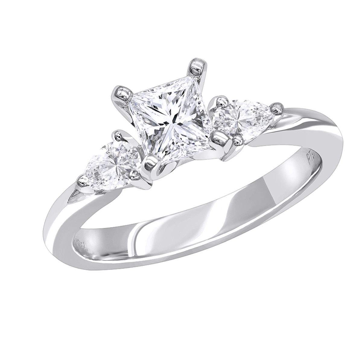 3 Stone Rings: Platinum Princess cut and Pear Diamond Engagement Ring 0.87