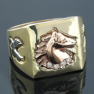 3 Tone 14K Gold Mens Diamond Ring Horse Detail 0.12ct