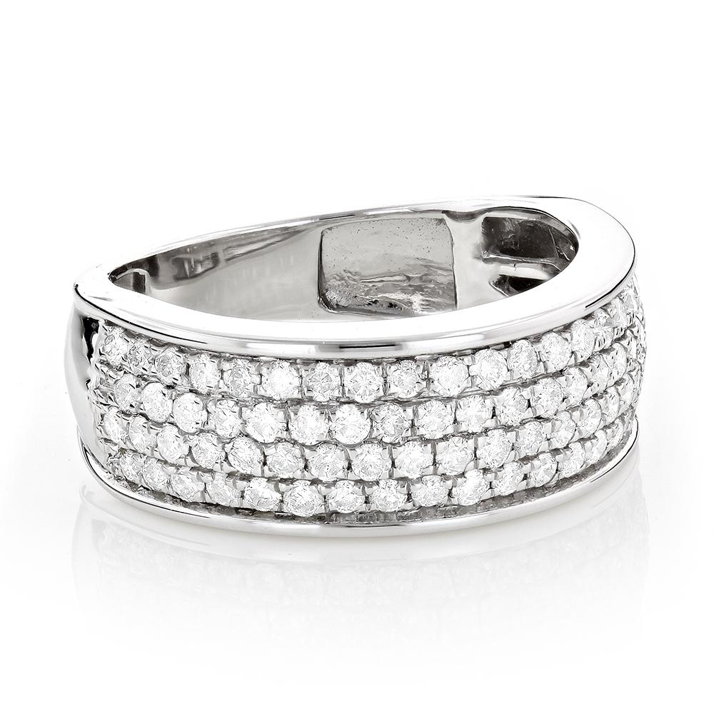 4 Row Mens Pave Diamond Wedding Band 1.6ct 14K Gold Anniversary Ring