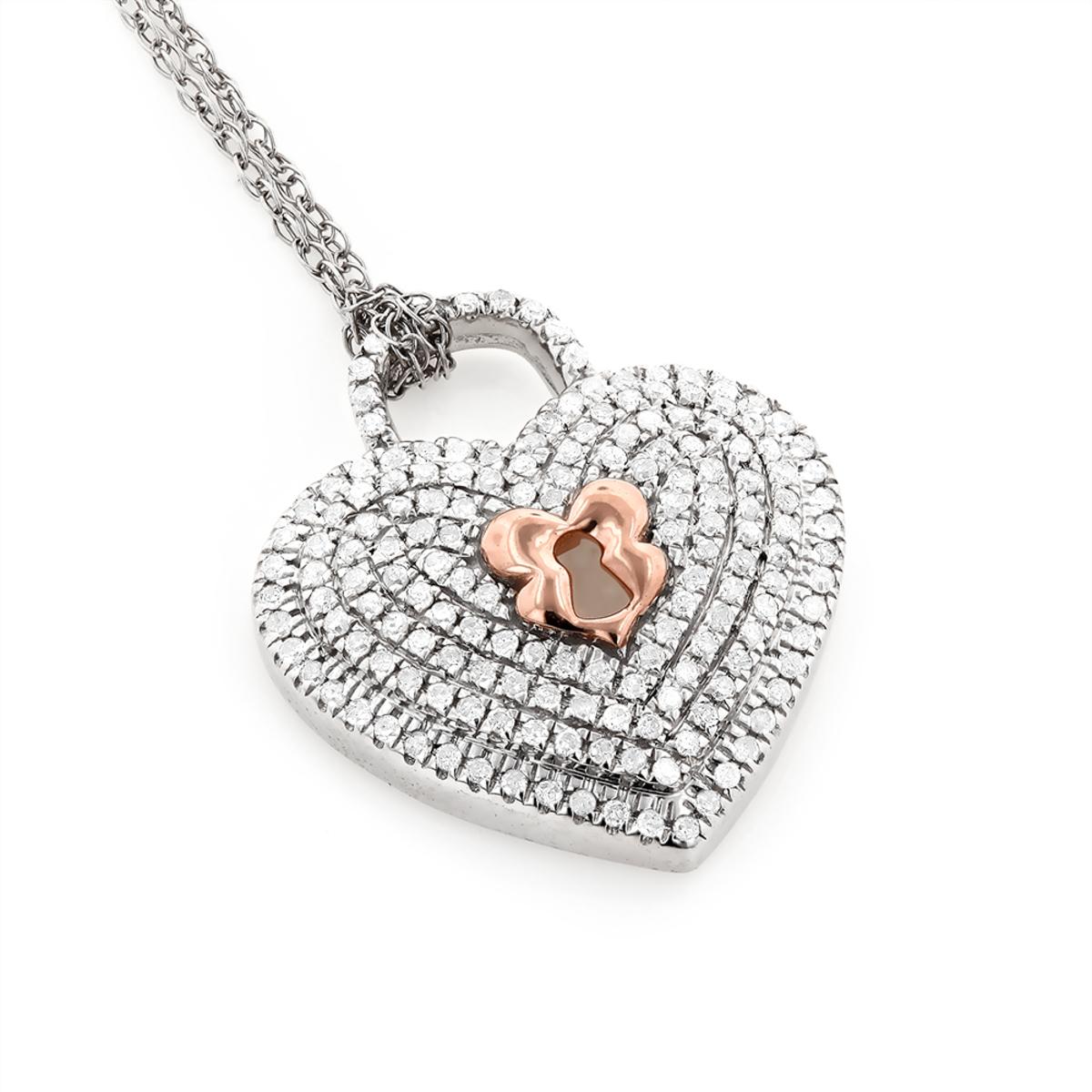 Micro Pave Diamond Heart Pendant Necklace 0.25ct 10K Gold