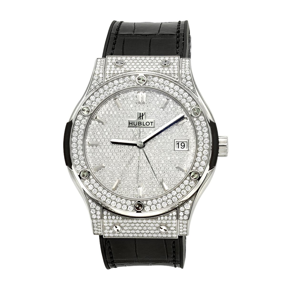 45mm Hublot Titanium Classic Fusion Diamond Watch for Men 3.5ct