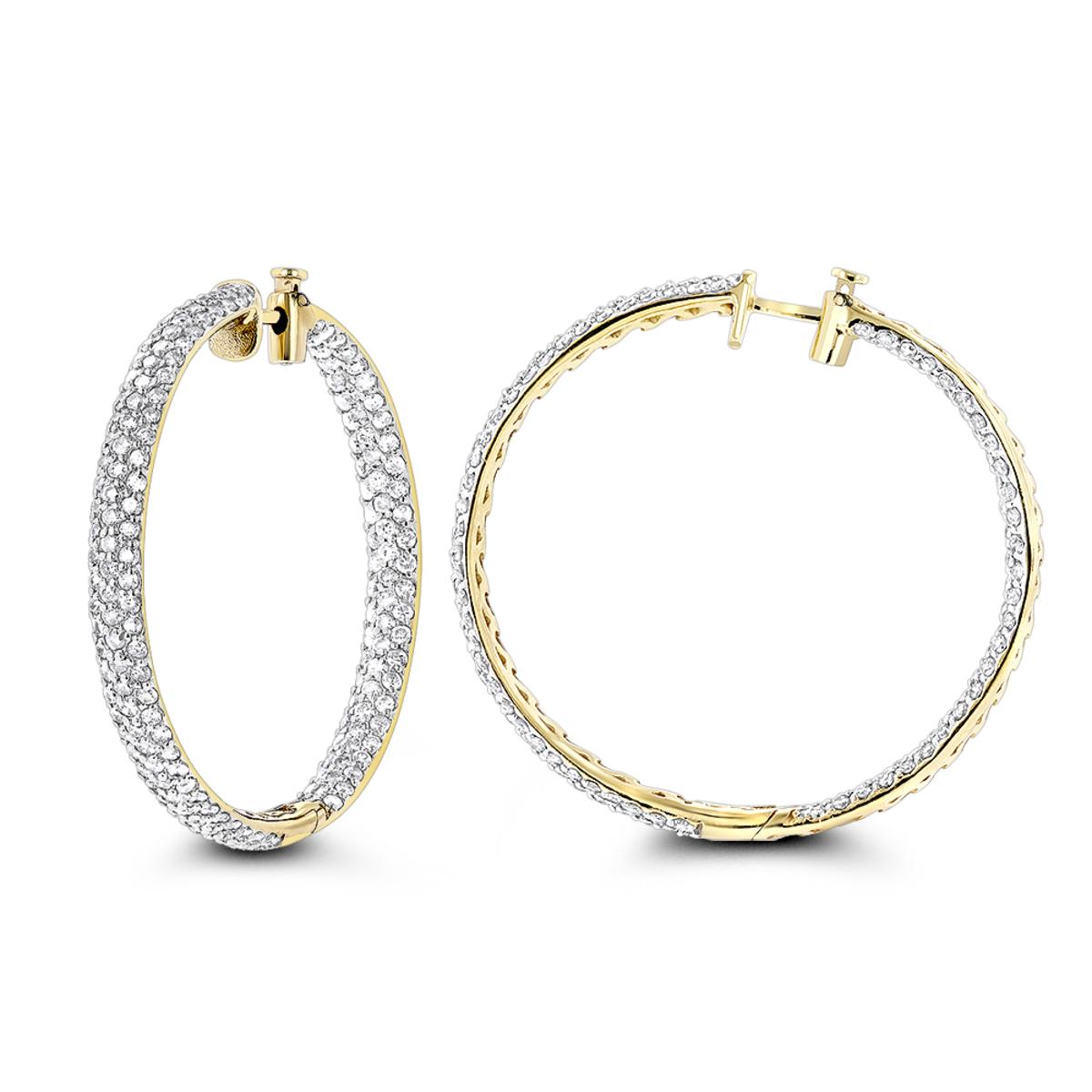 5 Carat Diamond Hoop Earrings: 14K Gold Inside Out Style