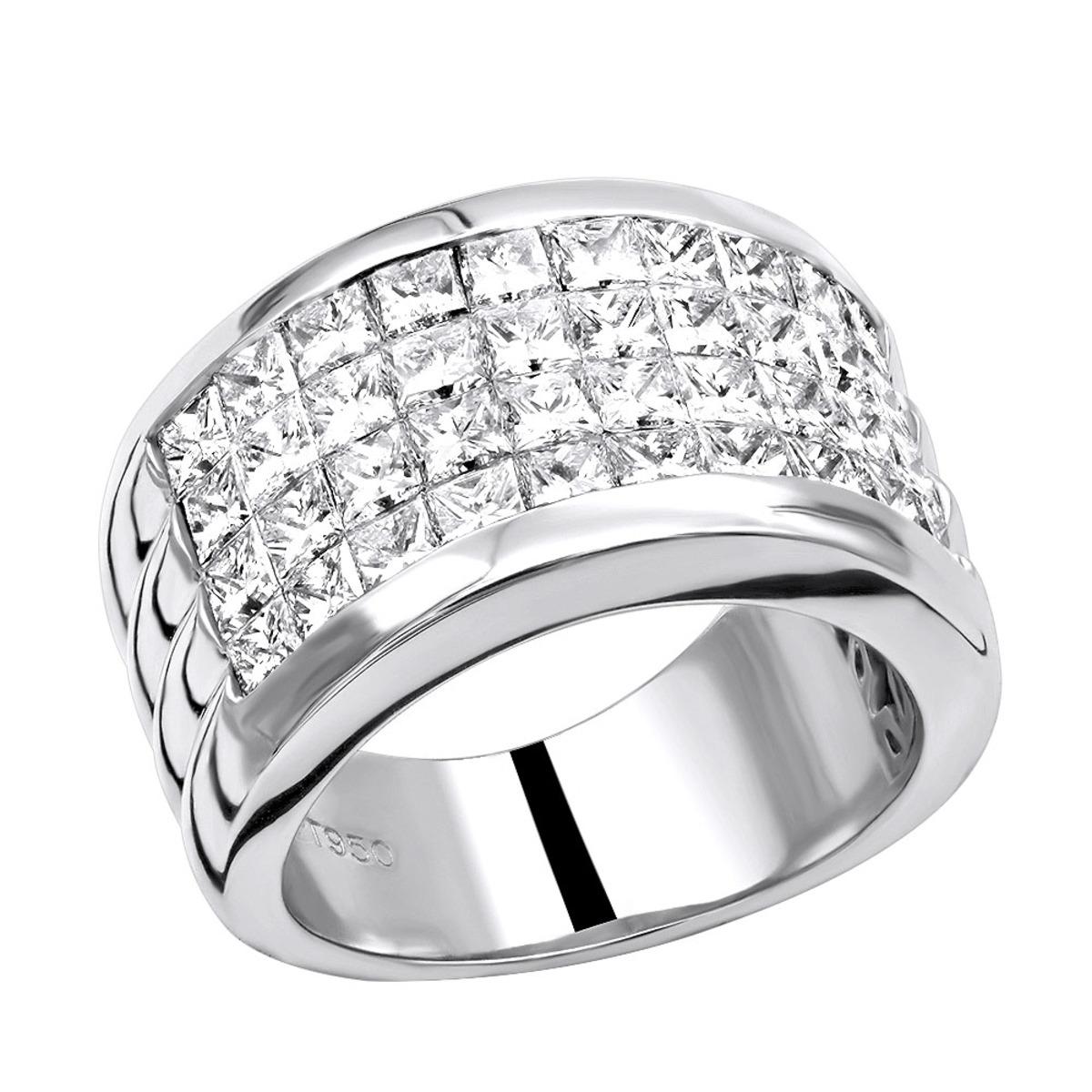 5 Carat G VS Invisible Set Princess Cut Diamond Wedding Band in Platinum