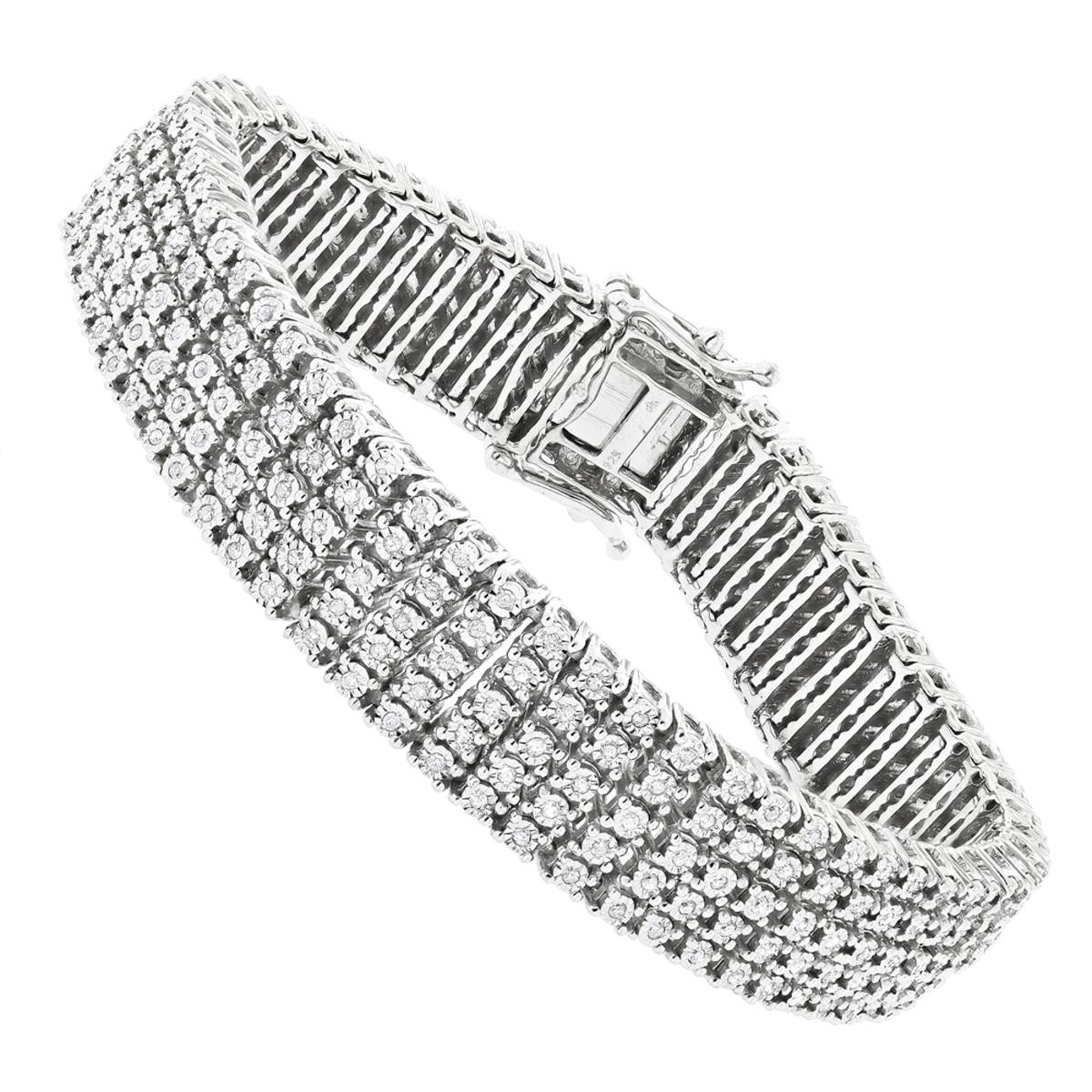 5 Row Mens Diamond Tennis Bracelet in Sterling Silver 1.75 carat Gold Plted