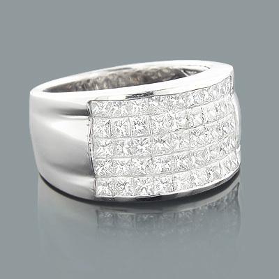 5 Row Princess Cut Diamond Ring 2.52ct 14K Gold Wedding Band