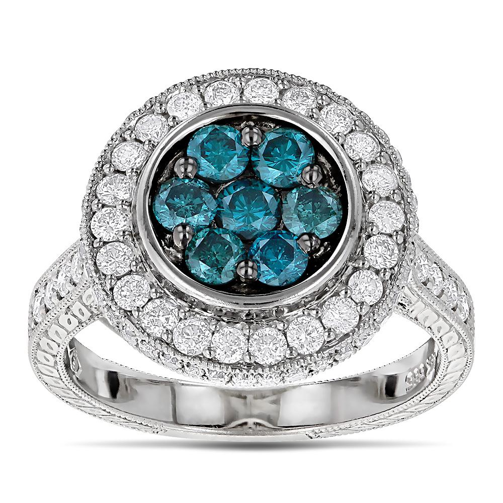 Ladies White and Blue Diamond Circle Engagement Ring 1.65ct 14K ...