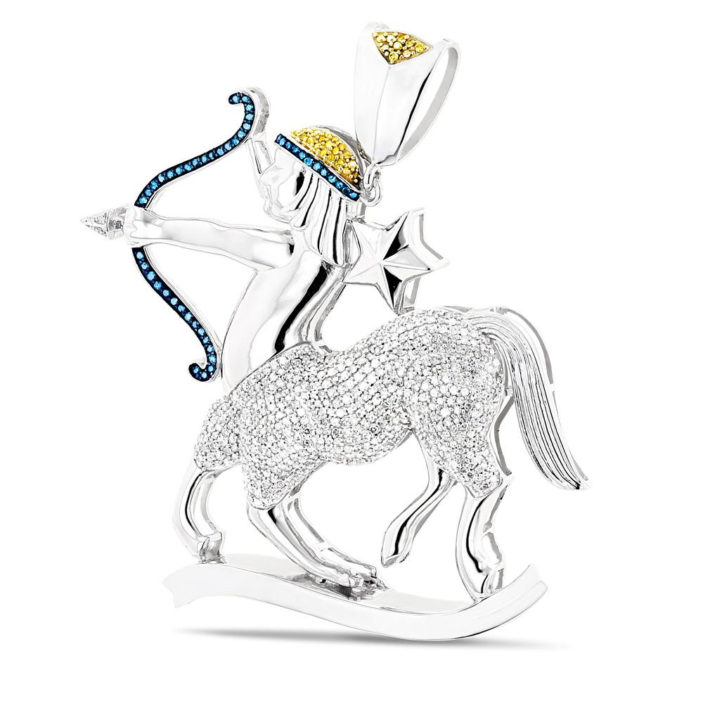 Color Diamond Sagittarius Pendant 3ct  Solid 10K Gold Zodiac Jewelry