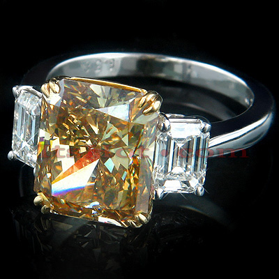 6.38ct Deep Brown Diamond Engagement Ring Radiant Cut