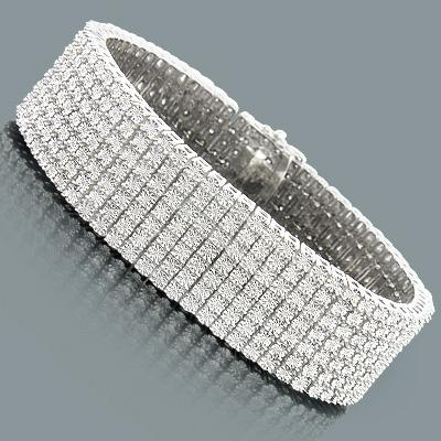 7 Row Diamond Bracelet for Men 1.50ct Sterling Silver
