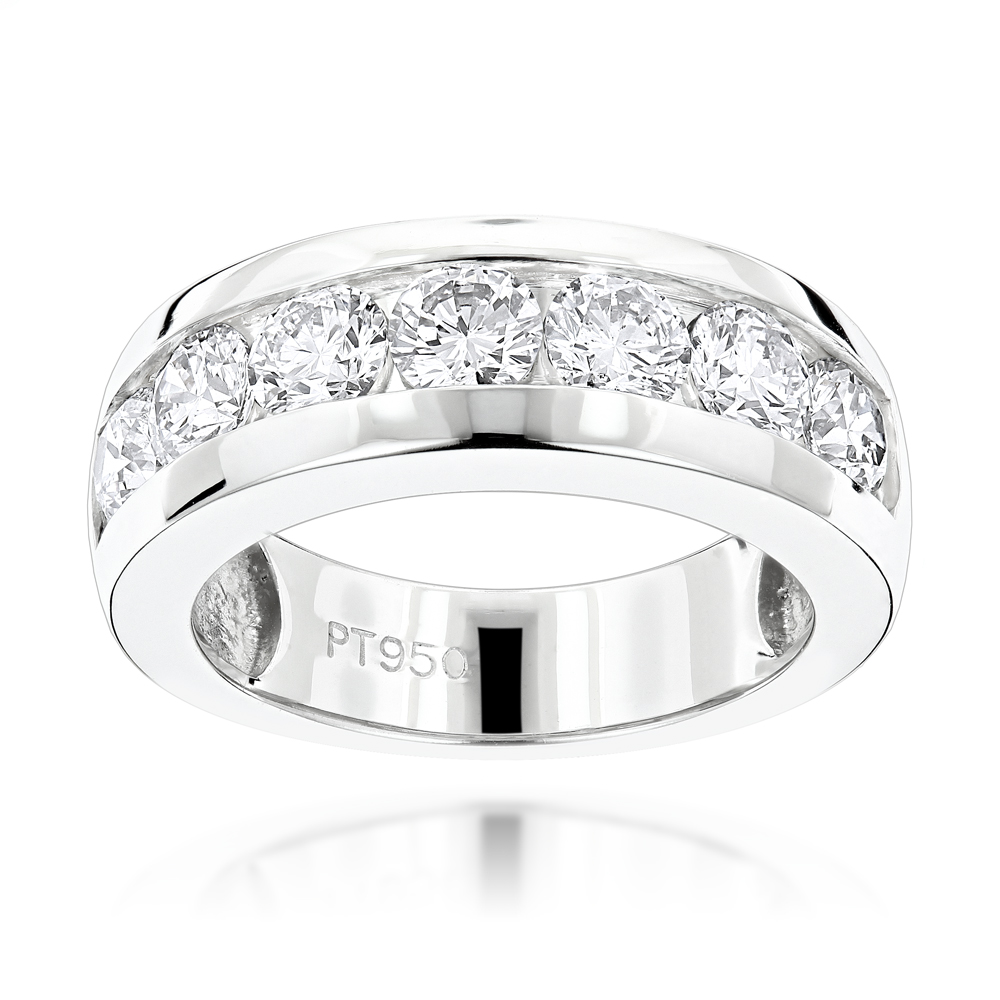 Beau 7 Stone Round Diamond Bands: Platinum Diamond Wedding Ring For Men 1.5ct