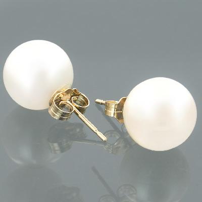 9-9.5mm 14K Gold White Fresh Water Pearl Earrings
