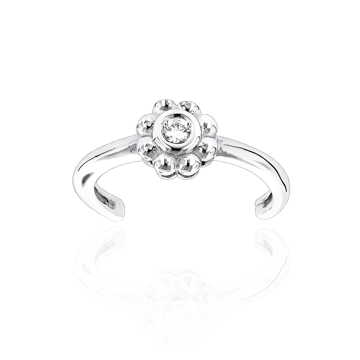 Adjustable 14K Gold Diamond Toe Ring Flower 0.06ct