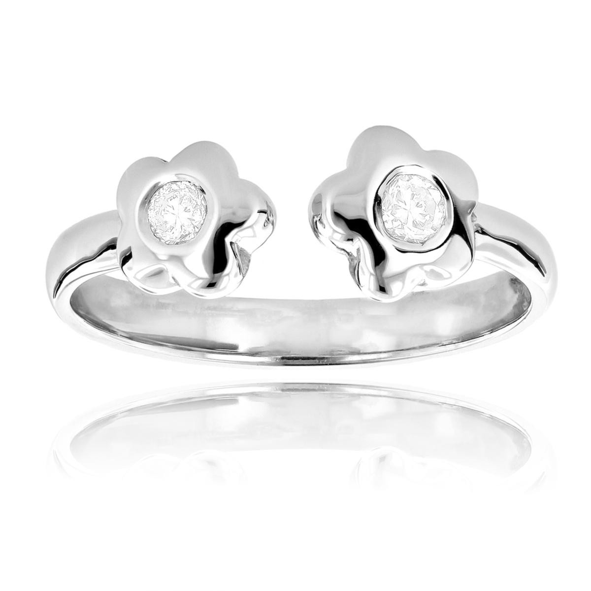 Adjustable 14K Gold Diamond Toe Ring Flower 0.07ct