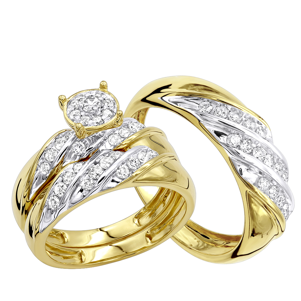 Affordable 10K Gold Diamond Engagement Ring Wedding Band Trio Set 0.9ct