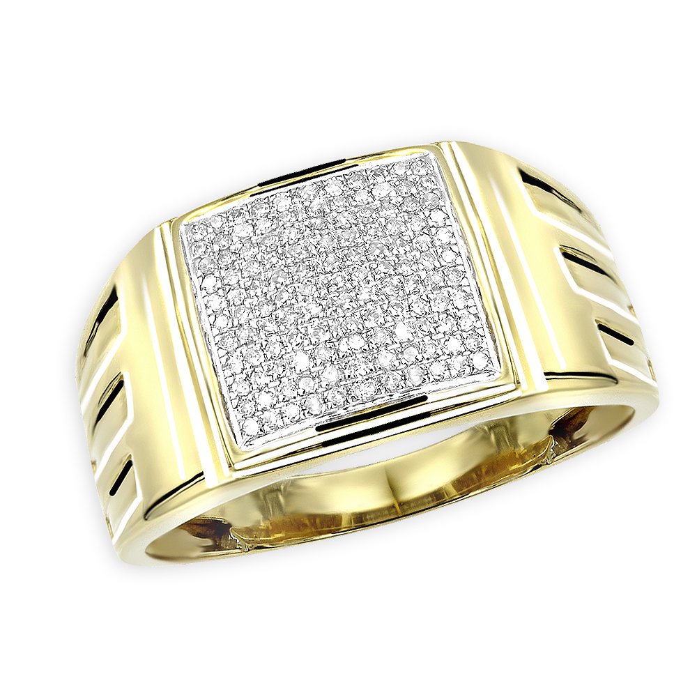 Affordable 10k Gold Mens Diamond Ring 0.25ct 12mm Wide Wedding Band