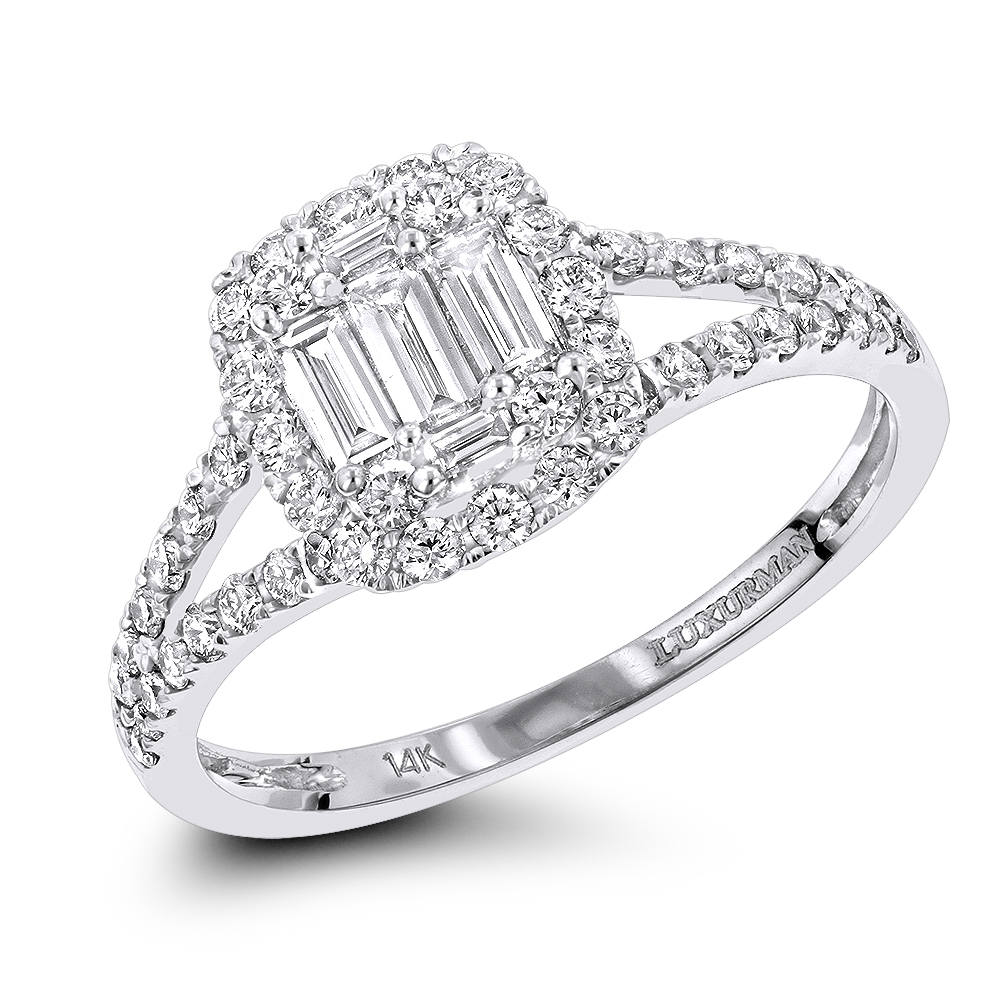 Affordable 14K Gold Baguette Round Diamond Halo Engagement Ring by Luxurman