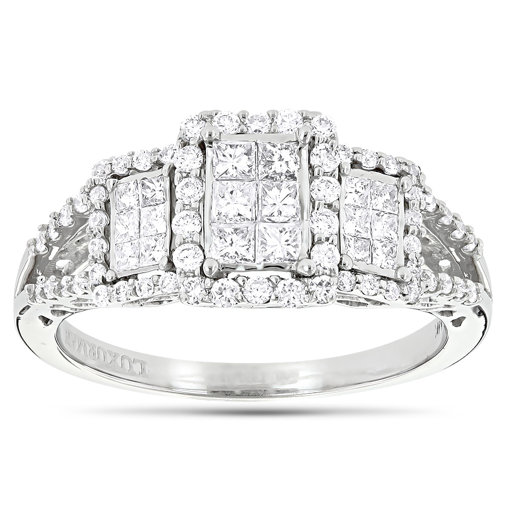 Affordable 14K Gold Round and Princess Cut Diamond Engagement Ring 1ct