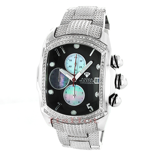Affordable Aqua Master Mens Watches! Diamond Bubble Style Watch 1.25ct