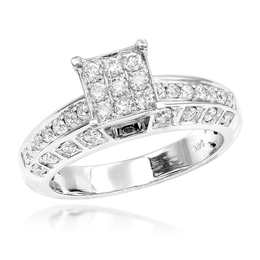 Affordable Diamond Engagement Ring 14K 0.96ct