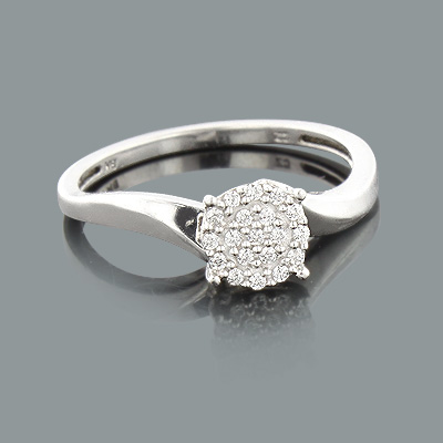 Affordable Diamond Engagement Ring in Sterling Silver 0.12ct